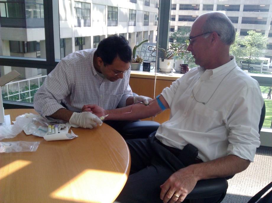 Joe Thakuria draws John Lauerman's blood